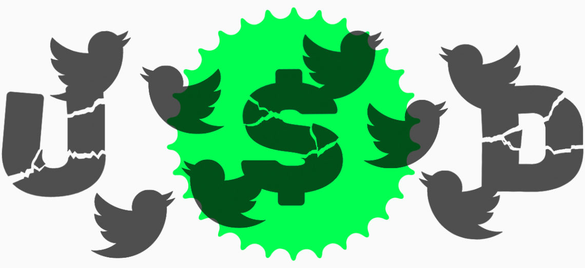 Tweeting birds with fractured dollar sign